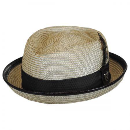 Stacy Adams Croc Trim Diamond Crown Fedora Hat