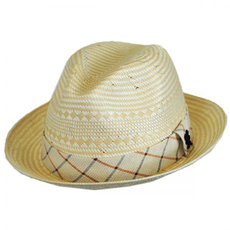 Stacy Adams Two-Tone Check Toyo Straw Fedora Hat