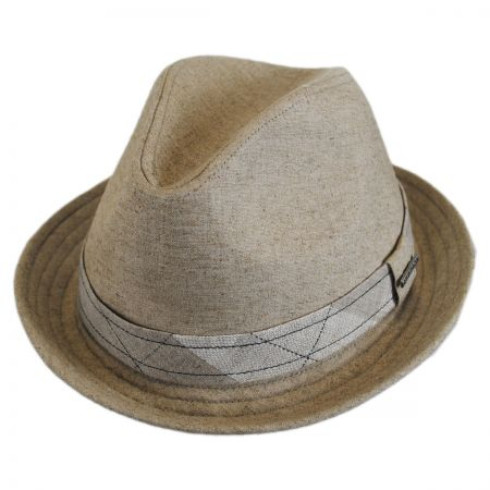 Stetson Plaid Band Linen Trilby Fedora Hat