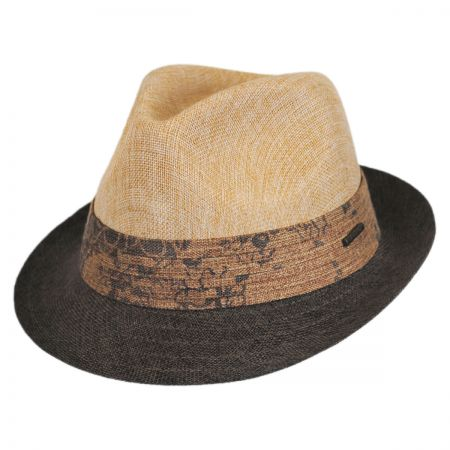 Stetson Color Blocked Straw Trilby Fedora Hat