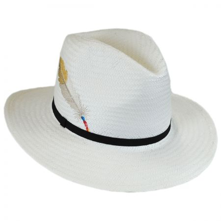 Brooklyn Hat Co Isabel Embroidered Toyo Straw Fedora Hat