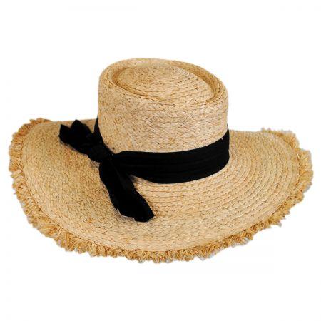 Brooklyn Hat Co Cristobel Frayed Raffia Straw Boater Hat