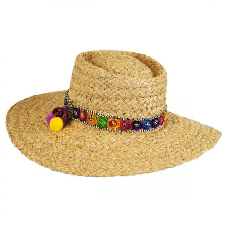 Brooklyn Hat Co Pattaya Pom Pom Raffia Straw Boater Hat