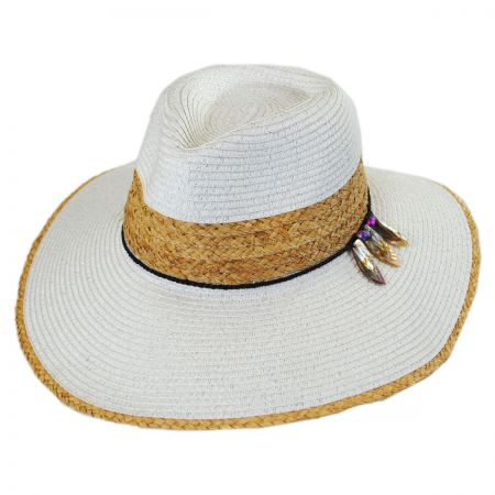 Callanan Hats Leaves Toyo and Raffia Straw Fedora Hat