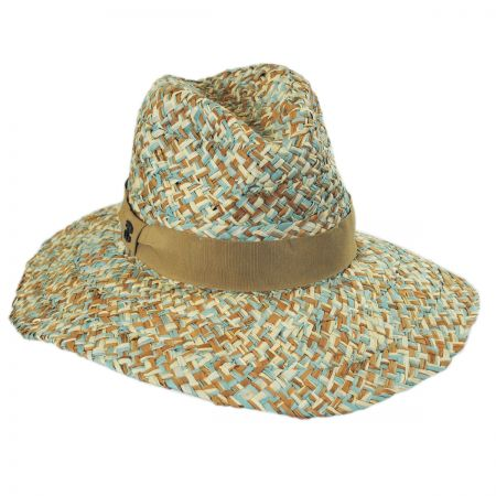 Three-Tone Raffia Straw Fedora Hat alternate view 1