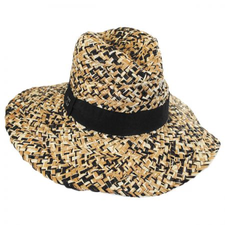 Three-Tone Raffia Straw Fedora Hat alternate view 5