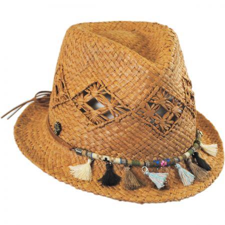 Tassels Raffia Straw Trilby Fedora Hat alternate view 1