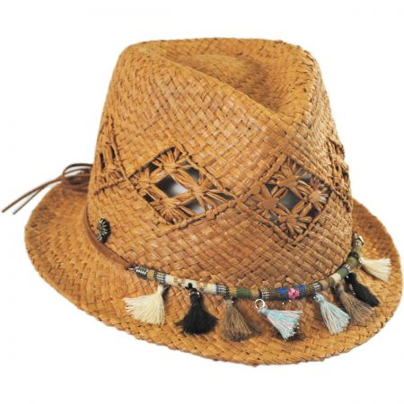 Tommy Bahama Tassels Raffia Straw Trilby Fedora Hat