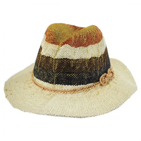Scala Striped Toyo Straw Floppy Fedora Hat