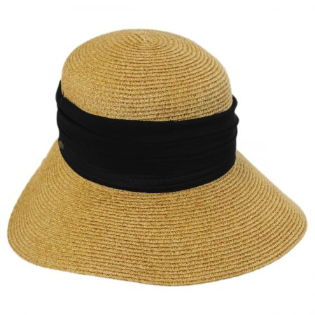 Scala Pleated Chiffon Toyo Straw Facesaver Hat