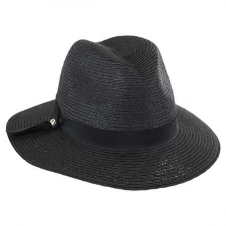 Scala Ribbon Band Toyo Straw Fedora Hat