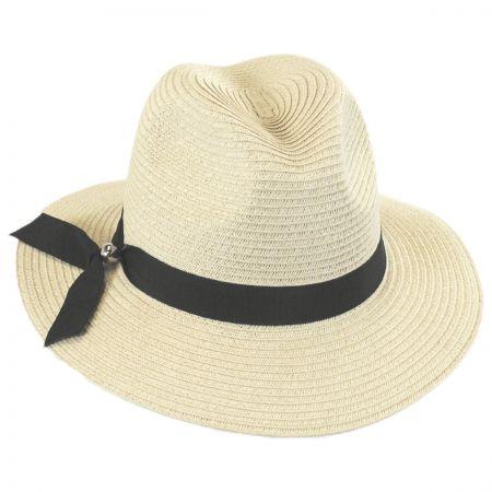 Scala Ribbon Band Toyo Straw Fedora Hat