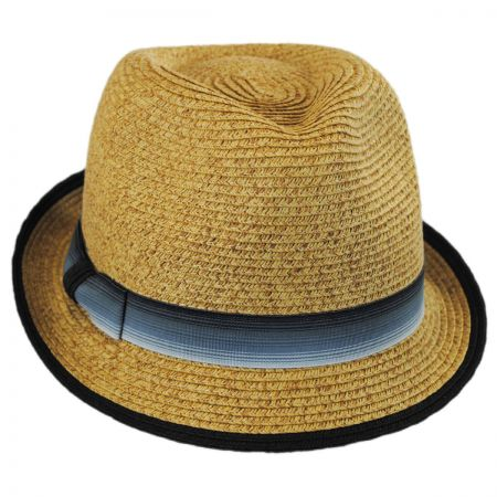 Scala Striped Band Toyo Straw Trilby Fedora Hat