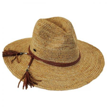 Scala Braided Leather Band Organic Raffia Straw Fedora Hat