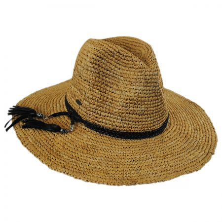 Scala Braided Leather Band Organic Raffia Straw Fedora Hat