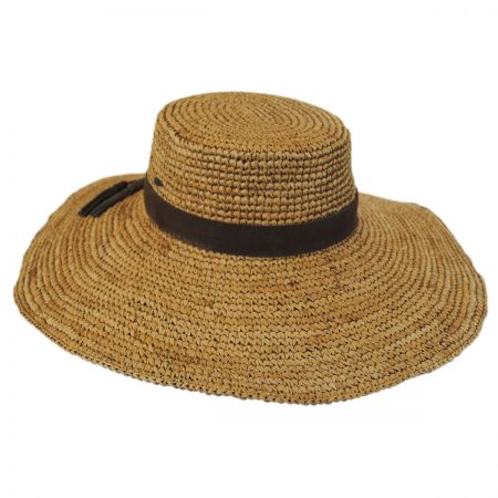 Scala Organic Raffia Straw Wide Brim Boater Hat