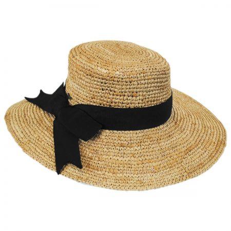Scala Side Bow Organic Raffia Straw Boater Hat