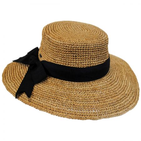 Scala Side Bow Organic Raffia Straw Boater Hat