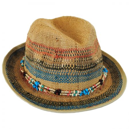Scala Stripes and Beads Raffia Straw Fedora Hat