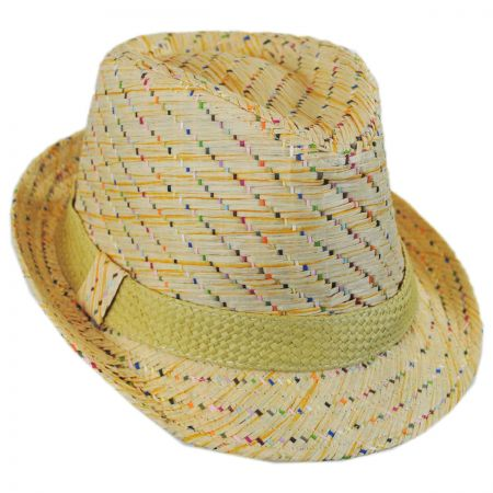 Scala Kids' Pixel Stripe Toyo Straw Fedora Hat