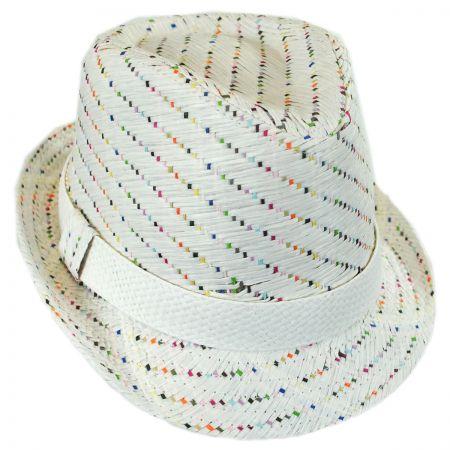 Scala Kids' Pixel Stripe Toyo Straw Fedora Hat