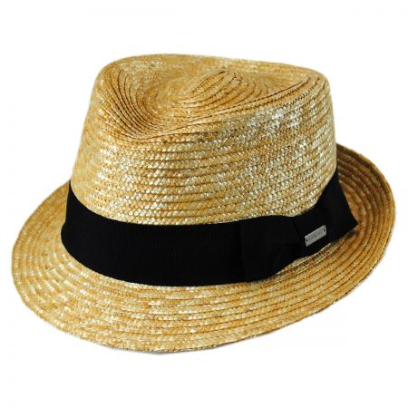 Kangol Wheat Braid Straw Arnold Trilby Fedora Hat