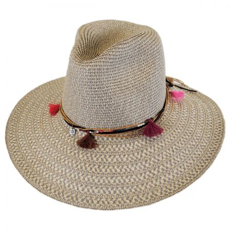 Tassel Trim Toyo Straw Safari Fedora Hat alternate view 5