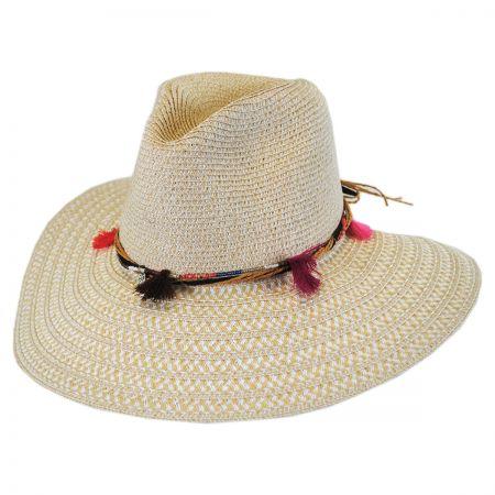 Cappelli Straworld Tassel Trim Toyo Straw Safari Fedora Hat