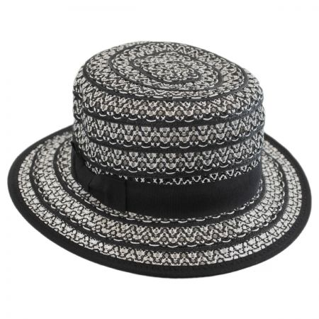 Jeanne Simmons Crocheted Toyo Straw Boater Hat