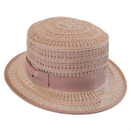 Crocheted Toyo Straw Boater Hat alternate view 5