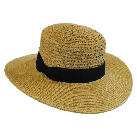 Jeanne Simmons Vent Crown Toyo Straw Boater Hat