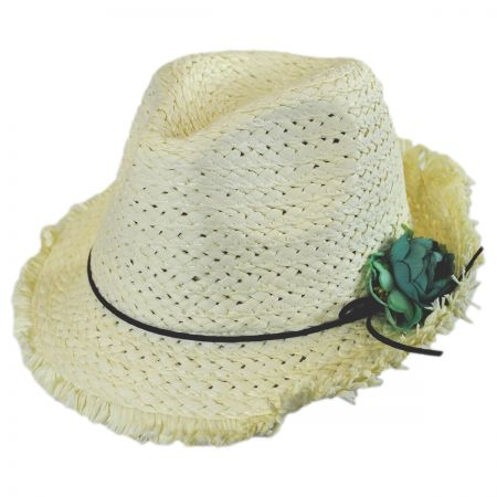 Jeanne Simmons Kids' Fringe Toyo Straw Fedora Hat