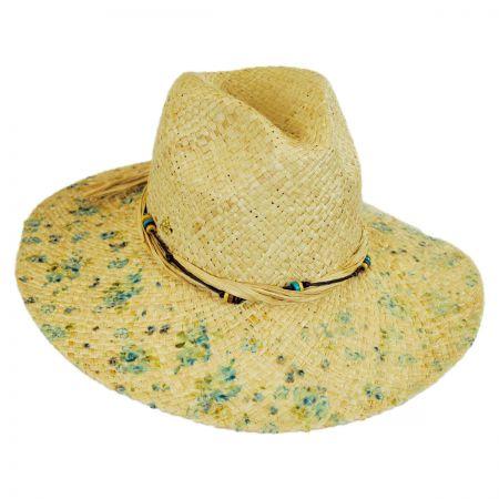 Cappelli Straworld Floral Print Raffia Straw Fedora Hat