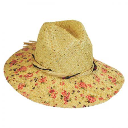 Floral Print Raffia Straw Fedora Hat alternate view 2