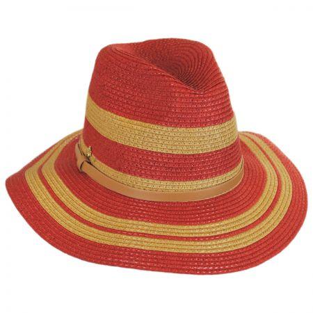 Cappelli Straworld Gold Stripes Toyo Straw Fedora Hat