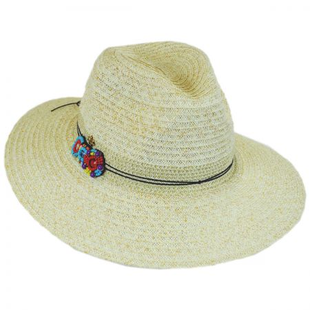 Cappelli Straworld Disc Bead Band Toyo Straw Fedora Hat