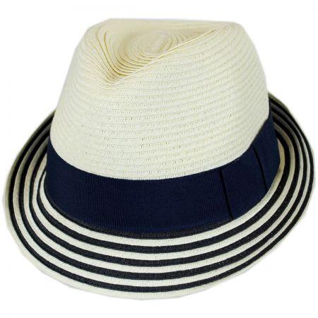 Striped Brim Toyo Straw Fedora Hat alternate view 1