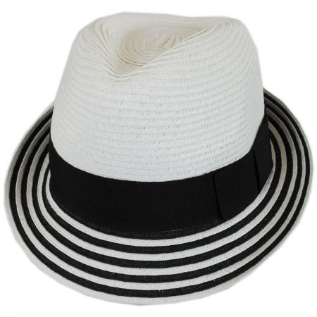 Striped Brim Toyo Straw Fedora Hat alternate view 5