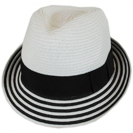 Jeanne Simmons Striped Brim Toyo Straw Fedora Hat