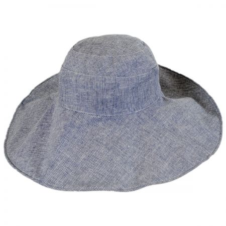 Jeanne Simmons Pinstripe Reversible Cotton and Linen Sun Hat