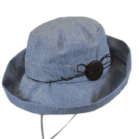 Jeanne Simmons Pinstripe Cotton and Linen Bucket Hat