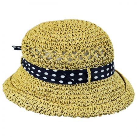 Jeanne Simmons Kids' Polka Dot Bow Toyo Straw Sun Hat