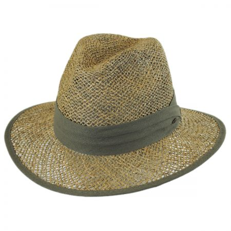 Dorfman Pacific Seagrass Straw Safari Fedora Hat