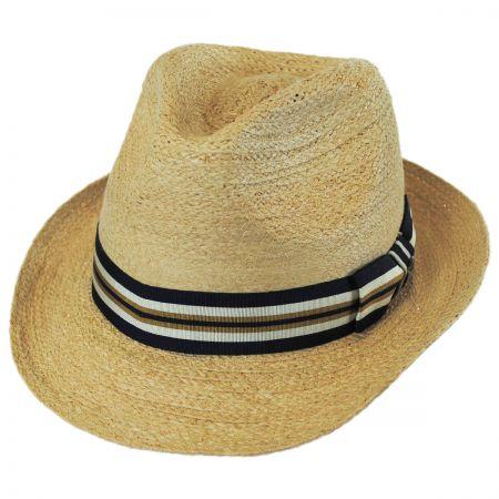 Scala Striped Band Raffia Straw Fedora Hat