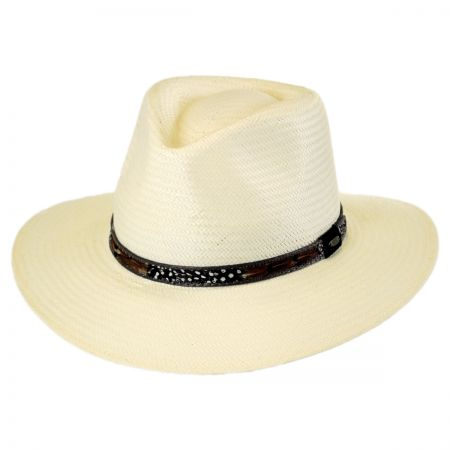 Scala Feather Band Toyo Straw Outback Fedora Hat