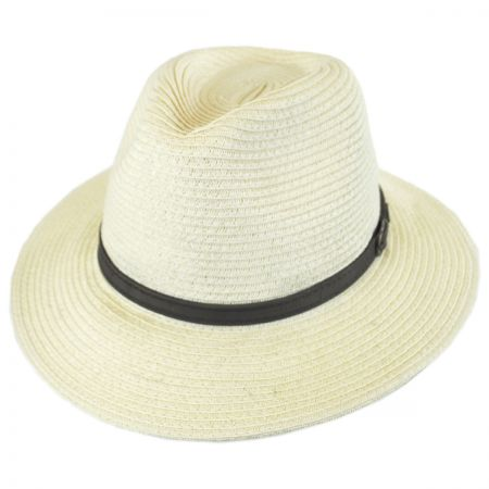 Scala Leather Band Toyo Straw Safari Fedora Hat
