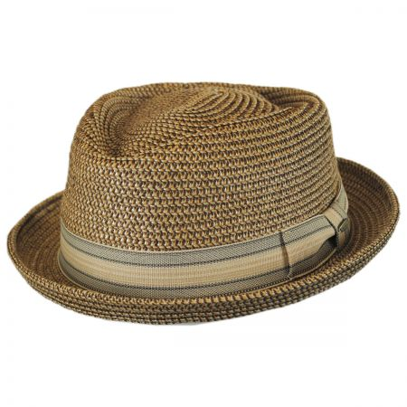 Scala Tweed Toyo Straw Diamond Crown Fedora Hat