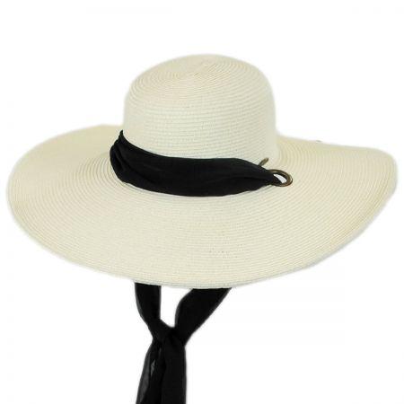 Karen Keith Chiffon Tie Toyo Straw Swinger Hat