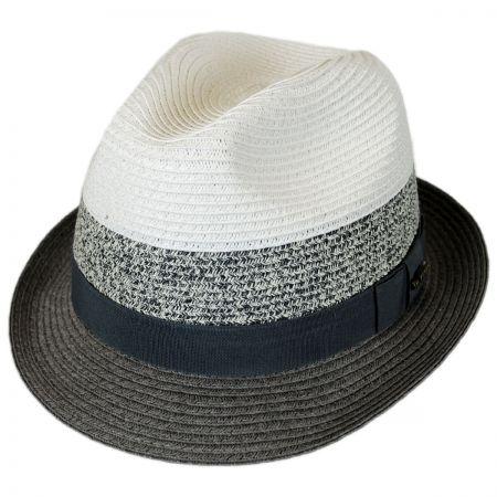 Kenny K Color Block Toyo Straw Trilby Fedora Hat