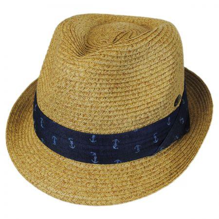 Kenny K Nautical Band Toyo Straw Trilby Fedora Hat